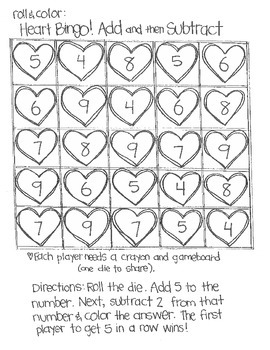 *FREE SAMPLE* Roll and Color:  Heart Bingo! (Add and Subtract)