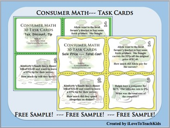 FREE SAMPLE Set of 6 Consumer Math Sales Tax Discount Tip