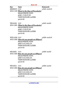 FREE SAMPLE TBA: preCalculus or Algebra 2 CH10 Assignments