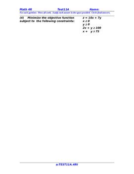 FREE SAMPLE TBQ: preCalculus or Algebra 2 TEST 11A
