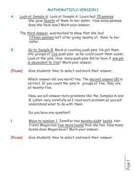 FREE SAMPLE: Test/Assessment Resource for Second Grade (Mathematics-Version 1)