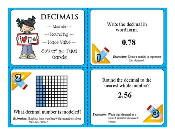FREE SAMPLE Understanding DECIMALS Set of 3 Task Cards