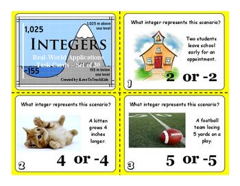 FREE SAMPLE Understanding Integers Set of 3 Real World Task Cards