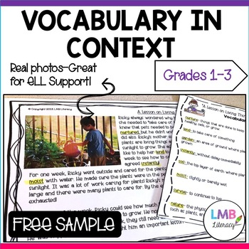 FREE SAMPLE: Vocabulary in Context Grades 1-3 -Reading Passage, Vocab, Writing