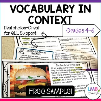 FREE SAMPLE: Vocabulary in Context-Reading Passage, Vocabulary, Writing Prompt