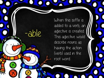 Snowy Suffixes PowerPoint: [-able] and [-ible]