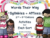 {Free Sample} Words Their Way - Syllables and Affixes - Worksheet Sample Pack
