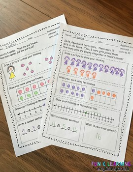 FREE SAMPLE - addition and subtraction word problems for 1st Grade