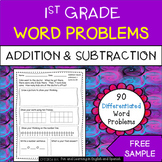 FREE SAMPLE - 1st Grade Word Problems - Addition and Subtraction Worksheets