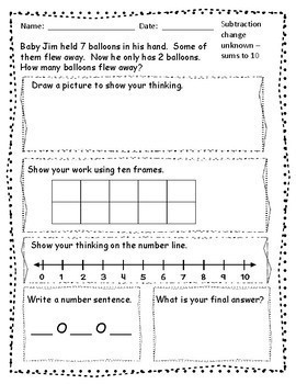 FREE SAMPLE - 1st Grade Word Problems - Addition and ...