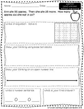 FREE SAMPLE - 2nd Grade Word Problems - Addition & Subtraction Worksheets