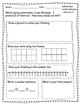 FREE SAMPLE - addition and subtraction word problems for Kindergarten