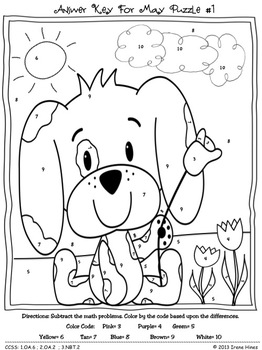 "FREE SAMPLE from Math ""May""hem ~ May Math Printables Color By The Code Puzzles"