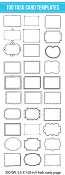 FREE SAMPLE of 100 Task Card Templates,Flash Card Templates, for Commercial Use