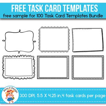 blank task card template - free sample of 100 task card templates editable by alina v