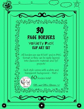 FREE SAMPLE of 30 Page Borders - Variety Pack! {Clip-Art}