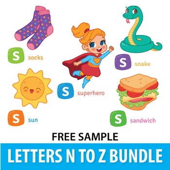 FREE SAMPLE of Alphabet Clipart Bundle N to Z