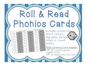 "FREE SAMPLE of ""Roll and Read Phonics"" to use and reuse for 1.RF.3"