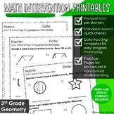 FREE SAMPLER 3rd Grade Math Intervention Pack GEOMETRY NO