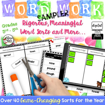 FREE Digital Word Work / Sorts for Google Classroom 3rd, 4th, 5th Grade