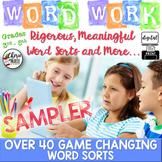 FREE Digital Word Work / Sorts for Google Classroom 3rd, 4th, 5th Grade