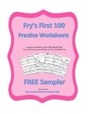 FREE SAMPLER Fry First 100 Words Practice Worksheets