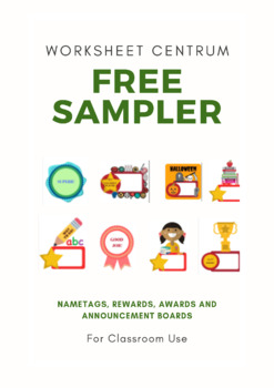 FREE SAMPLER!  Name tags, Rewards, Awards and Annoumcement Boards