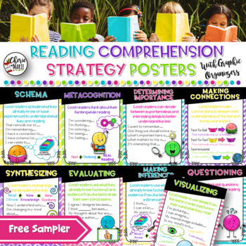 FREE SAMPLER Reading Comprehension Strategy Posters 2nd 3rd 4th 5th Grade