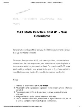 FREE SAT Math Non-Calculator Practice Test by Timothy Unkert