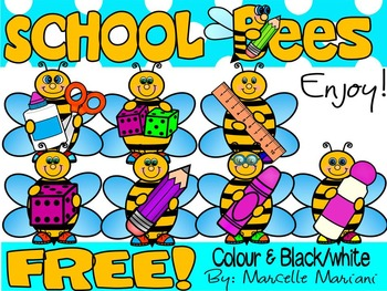 FREE SCHOOL BEES-COMMERCIAL USE-COLOUR AND BLACK-WHITE