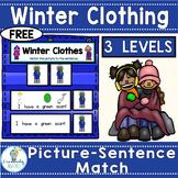 FREE SIGHT WORD SENTENCE MATCH-Winter Clothes (PreK-2/ELL/SPED)