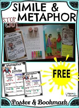 FREE SIMILE & METAPHOR Stop & Jot .... Poster & Bookmark