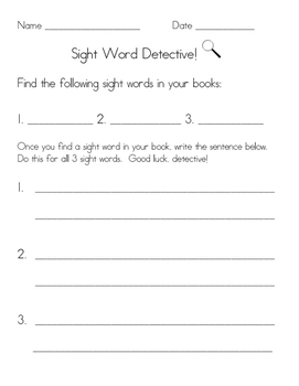 FREE Sight Word Detectives