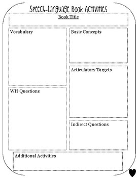 FREE SLP Book Companion Lesson Plan Template