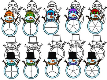 FREE SNOWMEN SPINNERS-COMMERCIAL USE-COLOUR AND BLACK-WHITE