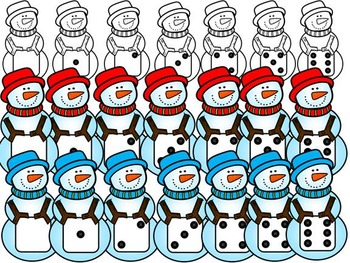 FREE SNOWMEN with DICE-COMMERCIAL USE-COLOUR AND BLACK-WHITE