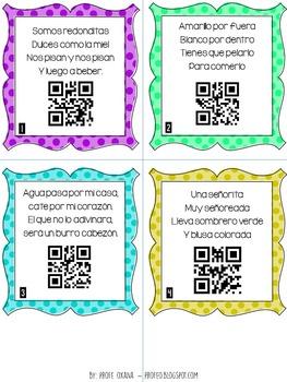 FREE - SPANISH Adivinanzas de FRUTAS- QR Codes Riddles Task Cards