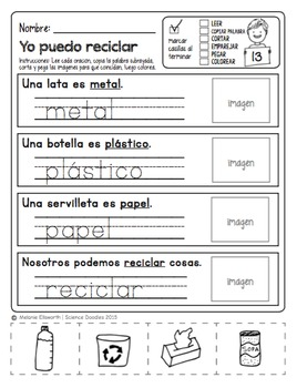 FREE SPANISH No-PREP pages for Kindergarten by Science Doodles
