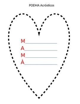 FREE SPANISH/ENGLISH Heart Shaped Acrostic Poem for MOM/MAMA
