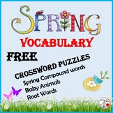 FREE . . . SPRING VOCABULARY Crossword Puzzles – Grades 3-5 ... FREEBIE