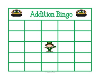 FREE St. Patrick's Day Addition Bingo!