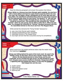 FREE STAR READY 3rd Grade Reading Task Cards {TEKS-aligned}