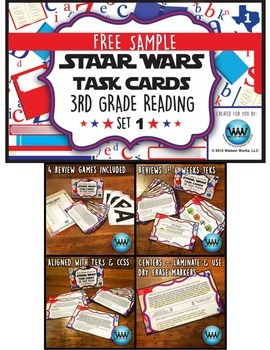 FREE STAAR Wars 3rd Grade Reading Task Cards