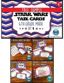 FREE STAR READY 4th Grade Math Task Cards {TEKS-aligned}