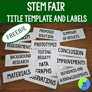 FREE STEM Fair Project Board Title Template and Labels