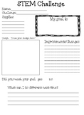 FREE STEM Sheets to use with Challenge cards