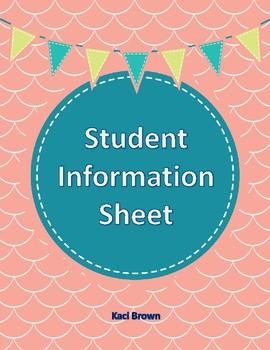 FREE!!  STUDENT DATA SHEET