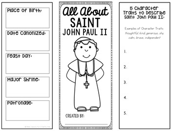 FREE! Saint John Paul II Research Project with Interactive Notebook Pockets