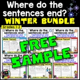 Winter Punctuation and Capitalization; Where do the sentences end? FREE SAMPLER