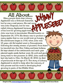 image about Johnny Appleseed Printable Story called Cost-free Pattern Versus Johnny Appleseed ~ An Apple Thematic Machine